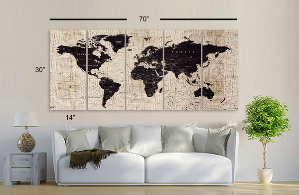 "XLARGE 30""x 70"" 5 Panels 30""x14"" Ea Art Canvas Texture Print Map World Cities Push Pin Travel Wall Brown beige decor Home interior (framed 1.5"" depth) - BoxColors"