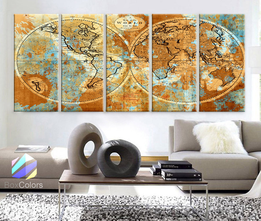"XLARGE 30""x 70"" 5 Panels 30""x14"" Ea Art Canvas Print World Map Watercolor Old Vintage Rustic Wall Decor Home Office Interior(framed 1.5"" Depth) - BoxColors"