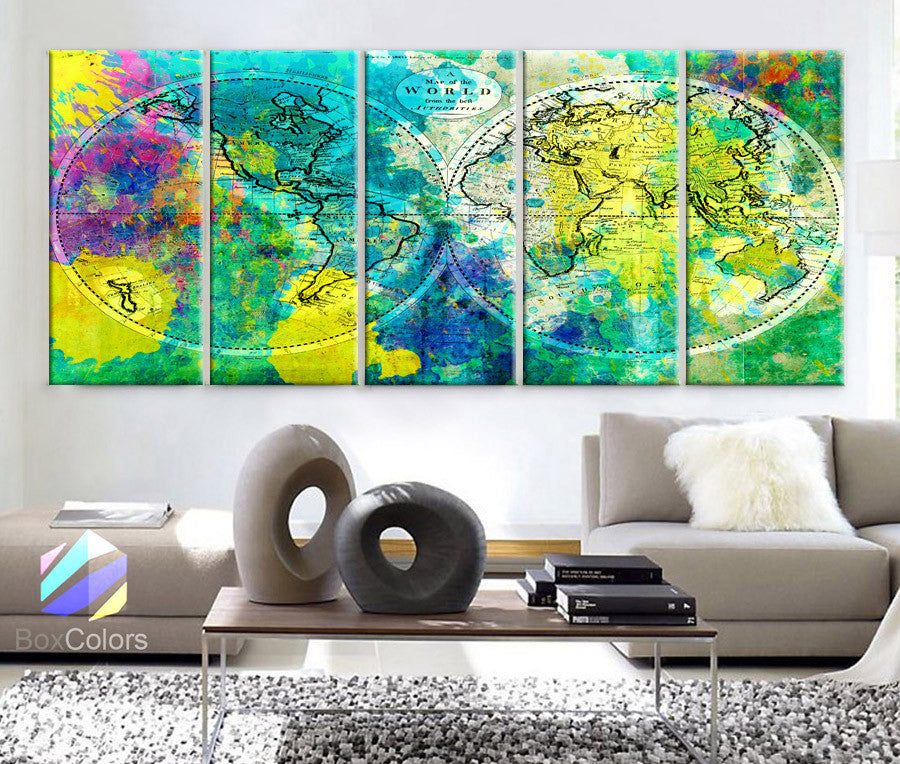 "XLARGE 30""x 70"" 5 Panels 30""x14"" Ea Art Canvas Print World Map Watercolor green yellow Old Vintage Wall Decor Home Office (framed 1.5"" Depth) - BoxColors"