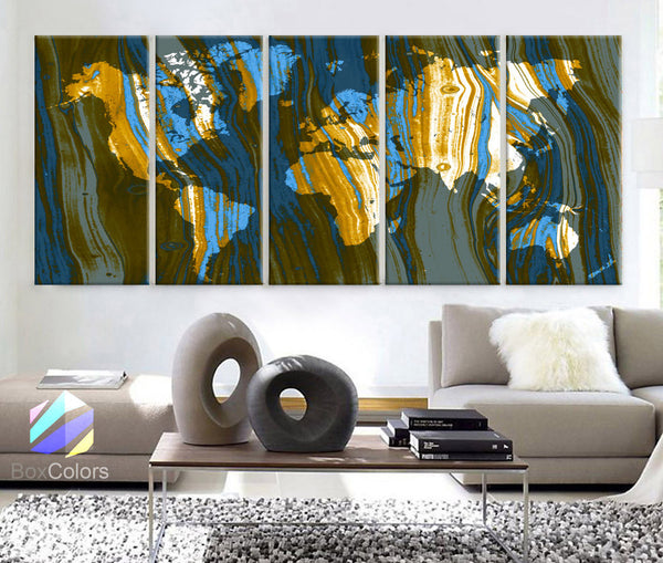 "XLARGE 30""x 70"" 5 Panels 30""x14"" Ea Art Canvas Print Texture Map World Abstract fullcolor Blue Beige Orange Wall decor Home interior (framed 1.5"" depth) - BoxColors"