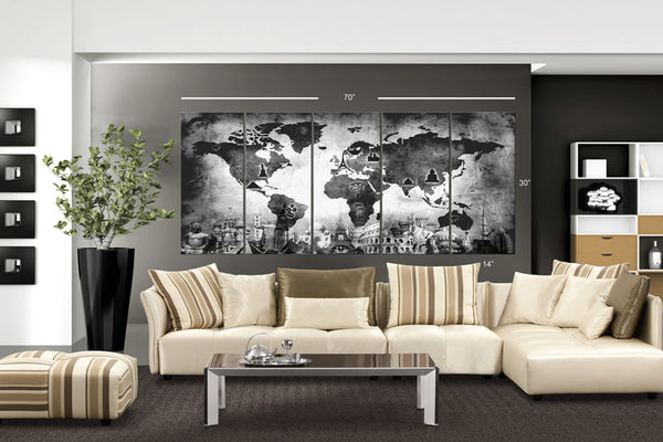"XLARGE 30""x 70"" 5 Panels 30""x14"" Ea Art Canvas Print Original Wonders of the world Old Map Black & White Wall decor Home interior (framed 1.5"" depth) - BoxColors"