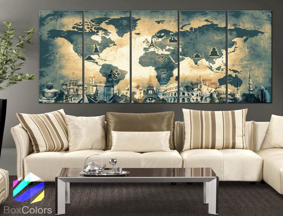 "XLARGE 30""x 70"" 5 Panels 30""x14"" Ea Art Canvas Print Original Wonders of the world Old Map Light yellow Wall decor Home interior (framed 1.5"" depth) - BoxColors"