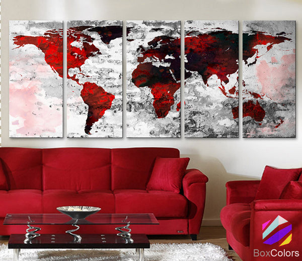 "XLARGE 30""x 70"" 5 Panels 30""x14"" Ea Art Canvas Print Watercolor Texture Map Old brick Wall color red black white decor Home interior (framed 1.5"" depth) - BoxColors"