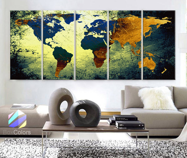 "XLARGE 30""x 70"" 5 Panels 30""x14"" Ea Art Canvas Print World Map Texture Abstract yellow blue Wall Decor Home Office (Framed 1.5"" Depth) - BoxColors"