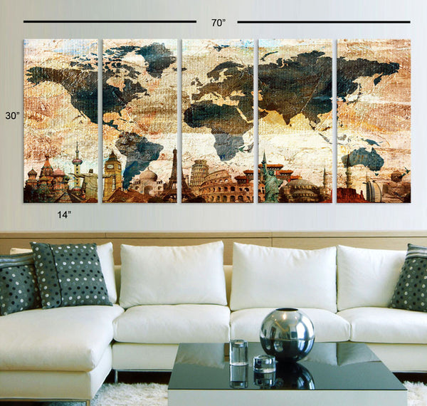 "Xlarge 30""x 70"" 5 Panels 30x14 Ea Art Canvas Print Original Wonders of the world Texture Map travel Wall decor Home interior (framed 1.5"" depth) - BoxColors"