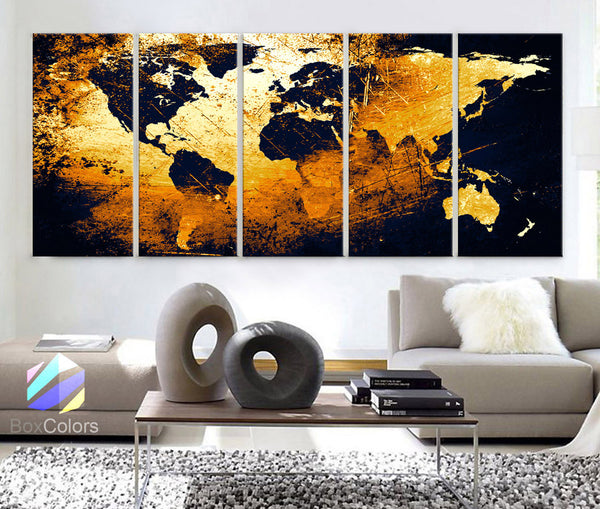 "XLARGE 30""x 70"" 5 Panels 30""x14"" Ea Ea Art Canvas Print World Map Texture Abstract Yellow Black Wall Decor Interior Design Home Office (Framed 1.5"" Depth) - BoxColors"
