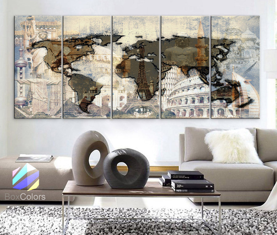 "Xlarge 30""x 70"" 5 Panels 30x14 Ea Art Canvas Print Original Big Wonders of the world Texture Map travel Wall decor Home interior (framed 1.5"" depth) - BoxColors"