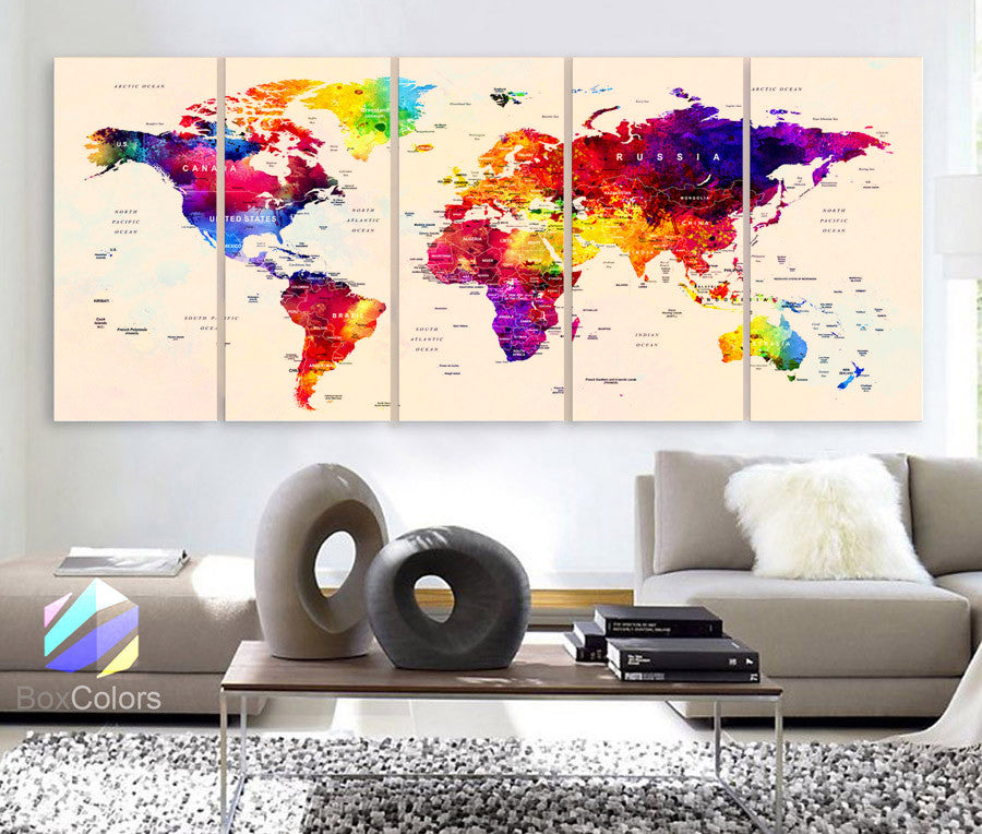 "Xlarge 30""x 70"" 5 Panels 30x14 Ea Art Canvas Print Watercolor Map World Push Pin Travel cities Wall beige background decor Home (framed 1.5"" depth) - BoxColors"