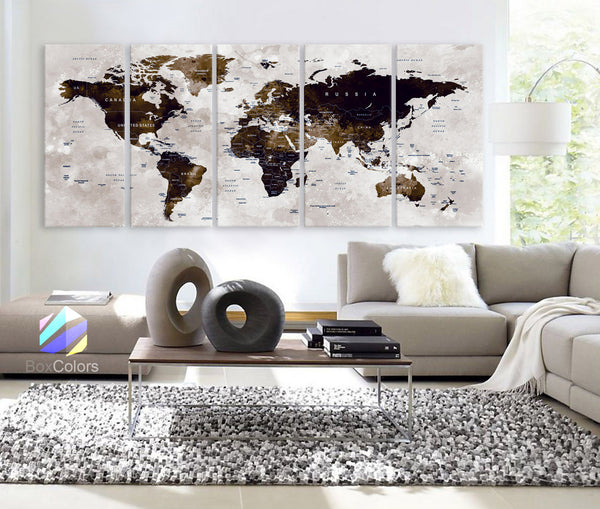 "XLARGE 30"" x 70"" 5 Panels Art Canvas Print Watercolor Map World Push Pin Travel Wall color Brown beige decor Home interior (framed 1.5"" depth) - BoxColors"