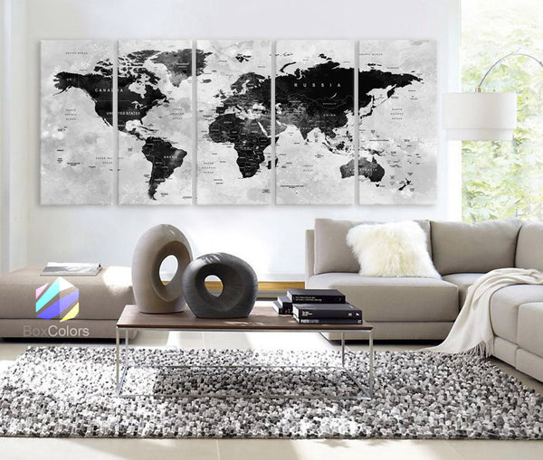 Products tagged wonders of the world map boxcolors xlarge 30x 70 5 panels 30x14 ea art canvas print gumiabroncs Gallery