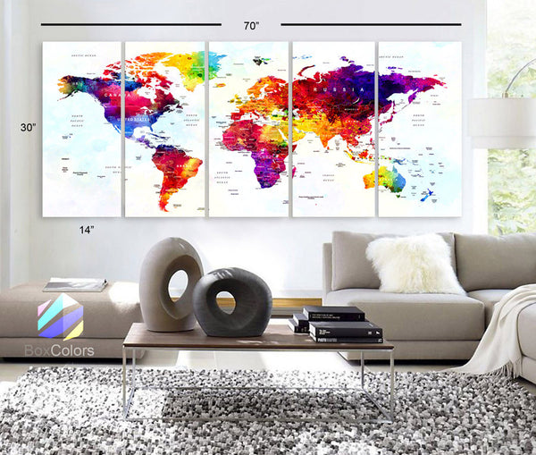 "Xlarge 30""x 70"" 5 Panels 30x14 Ea Art Canvas Print World Map Original Watercolor Push Pin Travel cities Wall Home Office decor (framed 1.5"" depth) - BoxColors"