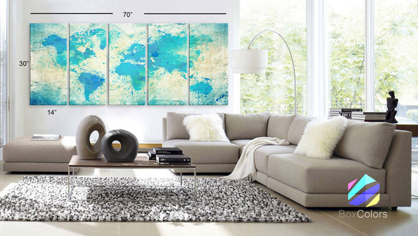 "Xlarge 30""x 70"" 5 Panels 30x14 Ea Art Canvas Print Original Watercolor Map world Extra large panel Wall decor Home Office interior (framed 1.5"" depth)"