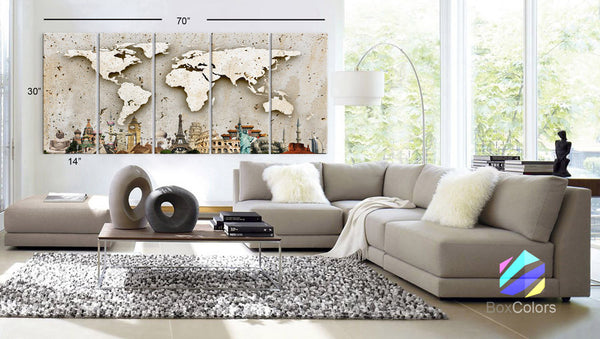 "Xlarge 30""x 70"" 5 Panels 30x14 Ea Art Canvas Print Original Wonders of the world Wall Texture Map travel Wall decor Home interior (framed 1.5"" depth) - BoxColors"