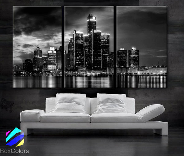 "LARGE 30""x 60"" 3 Panels Art Canvas Print beautiful Detroit Skyline Black & White Wall Home (Included framed 1.5"" depth) - BoxColors"
