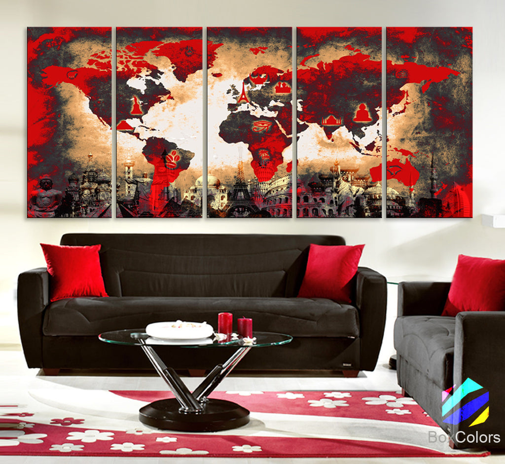 "Xlarge 30""x 70"" 5 Panels 30x14 Ea Art Canvas Print Original Wonders of the world Old Paper Map Red Yellow Wall decor Home interior (framed 1.5"" depth) - BoxColors"