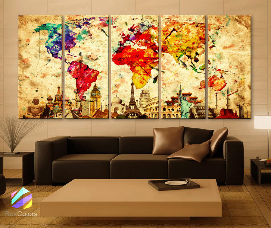 "Xlarge 30""x 70"" 5 Panels 30x14 Ea Art Canvas Print Original Wonders of the World Old Paper Map Colorful Wall Decor Home Interior (Framed 1.5"" Depth) - BoxColors"