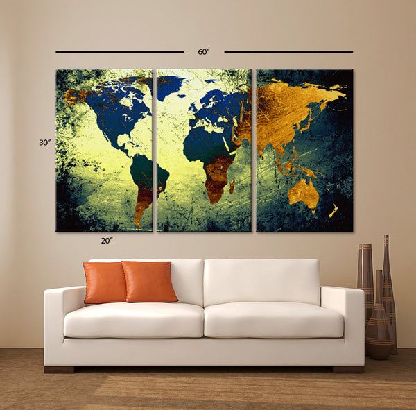 "LARGE 30""x 60"" 3 Panels 30""x20"" Ea Art Canvas Print World Map Texture Abstract Wall Decor home office interior Home Office (Included framed 1.5"" depth) - BoxColors"
