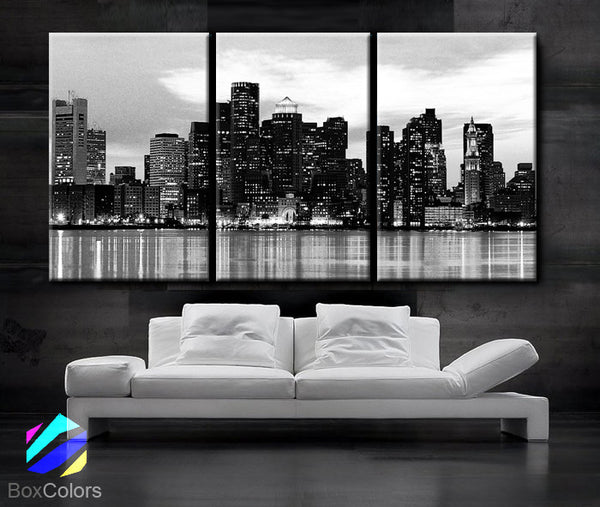 "LARGE 30""x 60"" 3 Panels Art Canvas Print Beautiful Boston skyline Sunset light Wall Home (Included framed 1.5"" depth) - BoxColors"