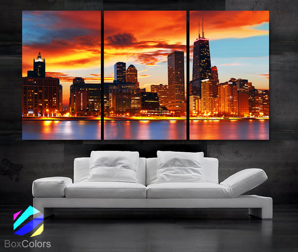 "LARGE 30""x 60"" 3 Panels Art Canvas Print Beautiful Chicago skyline Sunset light Wall Home - BoxColors"