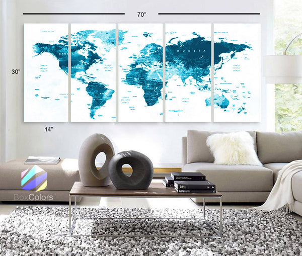 "XLARGE 30""x 70"" 5 Panels 30""x14"" Ea Art Canvas Print Watercolor Map World Countries Cities Push Pin Travel Wall color Blue decor Home interior (framed 1.5"" depth) - BoxColors"