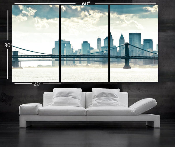 "LARGE 30""x 60"" 3Panels Art Canvas Print manhattan bridge New York City NY Wall Home (framed 1.5"" depth) - BoxColors"