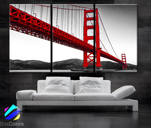 "LARGE 30""x 60"" 3 Panels Art Canvas Print Beautiful Golden Gate Bridge San Francisco California Black White red Wall Home (framed 1.5"" depth) - BoxColors"