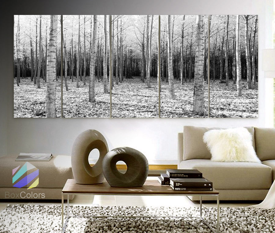 "XLARGE 30""x 70"" 5 Panels Art Canvas Print beautiful Trees Forest Landscapes Nature  Black & White Wall Home decor (framed 1.5"" depth) - BoxColors"
