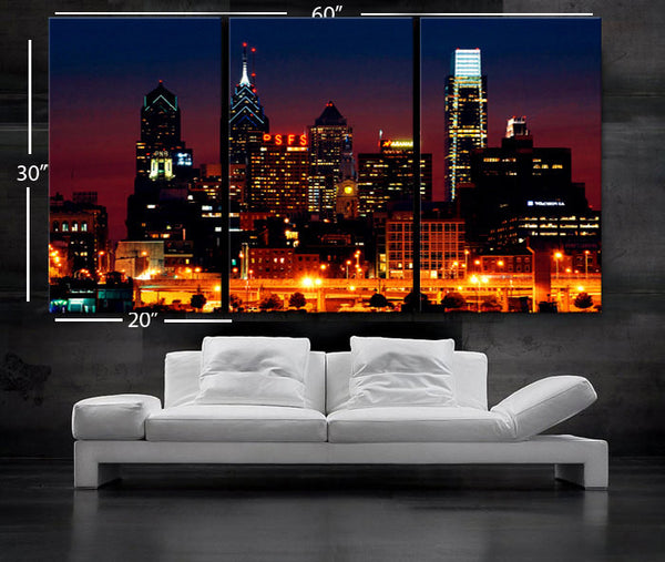 "LARGE 30""x 60"" 3 Panels Art Canvas Print Beautiful Philadelphia skyline light buildings Downtown Wall Home (Included framed 1.5"" depth) - BoxColors"