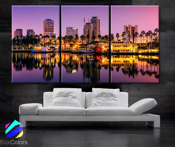"LARGE 30""x 60"" 3 Panels Art Canvas Print Long Beach, California Skyline night light Downtown Wall Home decor interior (framed 1.5"" depth)"