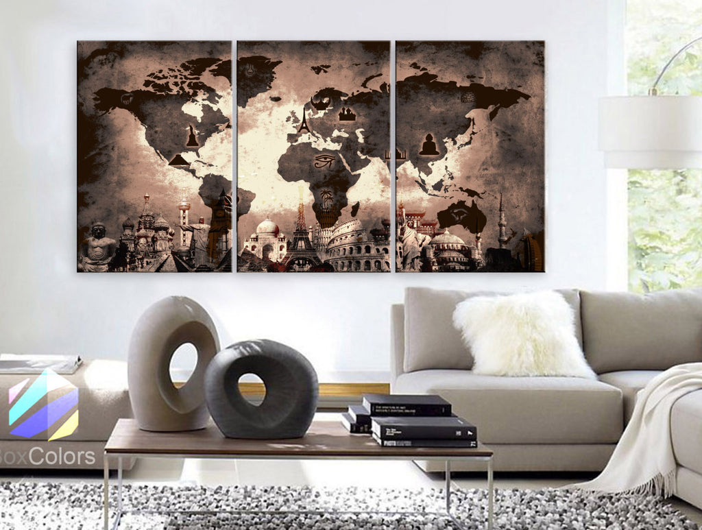 "LARGE 30""x 60"" 3 Panels Art Canvas Print Original Wonders of the world Old Paper Map Brown  Wall decor Home interior ( framed 1.5"" depth) - BoxColors"