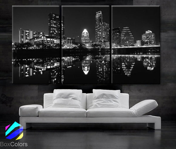 "LARGE 30""x 60"" 3 Panels Art Canvas Print Beautiful Austin TX skyline light buildings Wall Home decor interior(Included framed 1.5"" depth) - BoxColors"