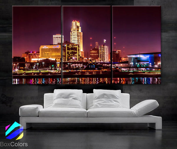 "LARGE 30""x 60"" 3 Panels Art Canvas Print beautiful Omaha Nebraska skyline color Wall Home decor (Included framed 1.5"" depth) - BoxColors"
