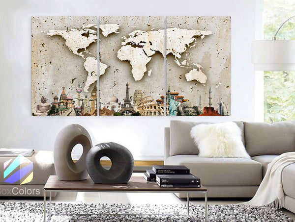 "LARGE 30""x 60"" 3 Panels Art Canvas Print Original Wonders of the world Texture Map travel Wall decor Home interior (framed 1.5"" depth)"