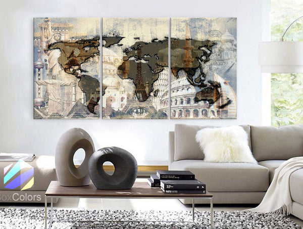 "LARGE 30""x 60"" 3 Panels Art Canvas Print Original Big Wonders of the world Texture Map travel Wall decor Home interior (framed 1.5"" depth) - BoxColors"