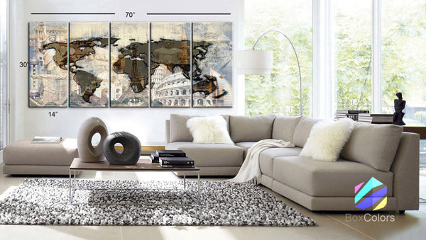 "XLARGE 30""x 70"" 5 Panels Art Canvas Print Original Big Wonders of the world Texture Map travel Wall decor Home interior (framed 1.5"" depth) - BoxColors"