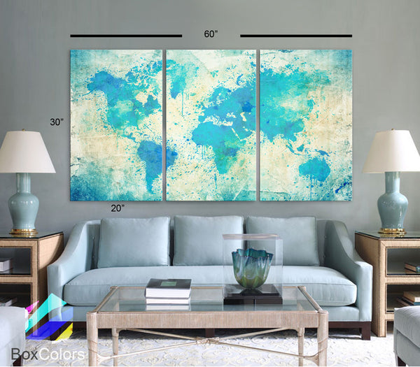 "LARGE 30""x 60"" 3 Panels Art Canvas Print Original Watercolor light Blue green Map Old paper Wall decor Home interior (framed 1.5"" depth) - BoxColors"