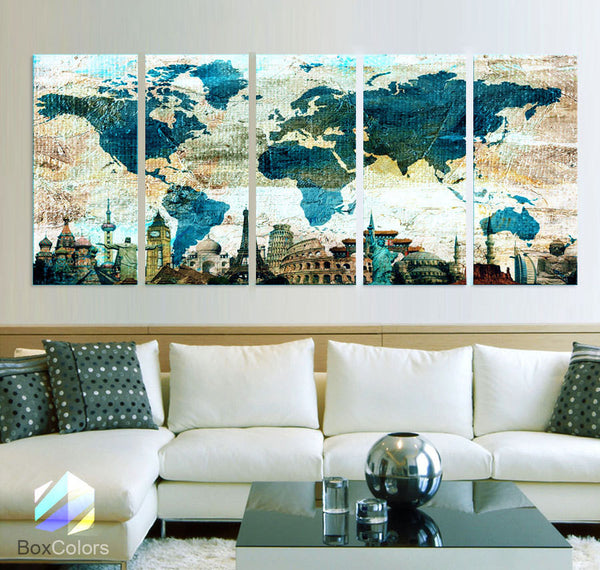 "XLARGE 30""x 70"" 5 Panels Art Canvas Print Original Wonders of the world Blue Texture Map travel Wall decor Home interior (framed 1.5"" depth) - BoxColors"