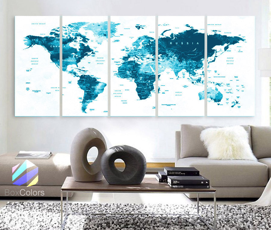 "XLARGE 30""x 70"" 5 Panels Art Canvas Print World Map Original Watercolor Blue Push Pin Travel cities Wall Home Office (framed 1.5"" depth) - BoxColors"