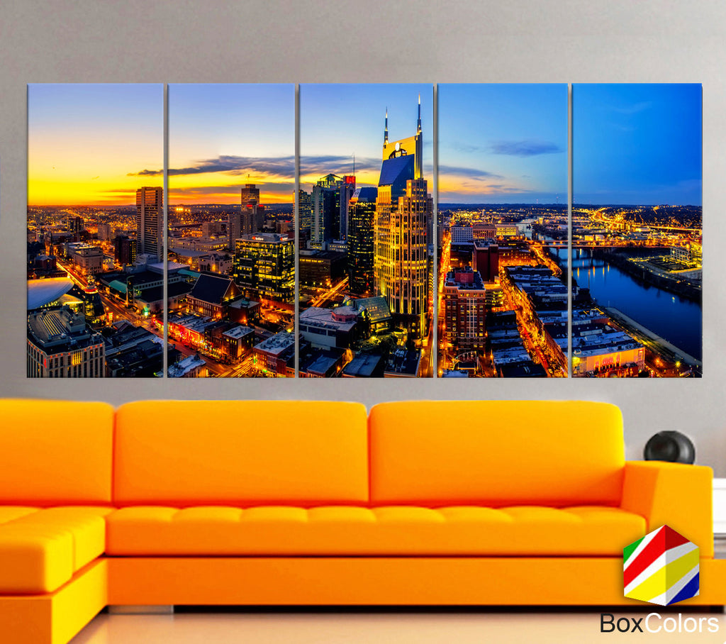 "XLARGE 30""x70"" 5 Panels Art Canvas Print Nashville Skyline Downtown night full color Wall Home office decor interior ( framed 1.5"" depth) - BoxColors"