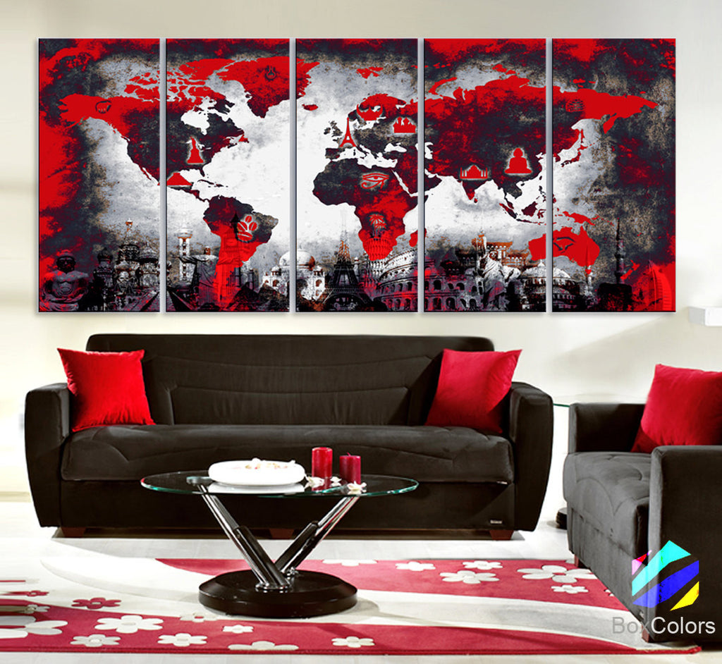 "XLARGE 30""x70"" 5Panels Art Canvas Print Original Wonders of the world Map Red background black & white Wall decor Home  (framed 1.5"" depth) - BoxColors"