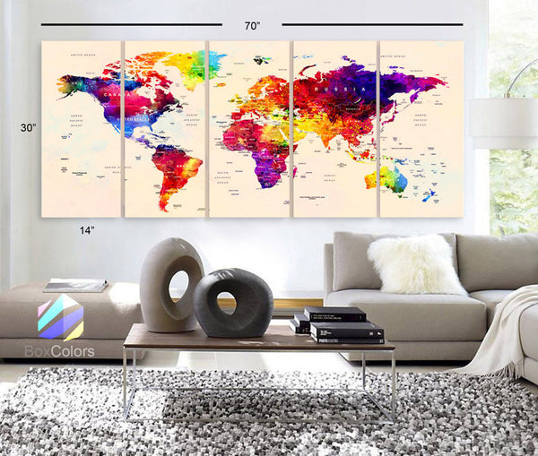 "LARGE 30""x 70"" 5 Panels Art Canvas Print Watercolor Map World Push Pin Travel cities Wall beige background decor Home  (framed 1.5"" depth) - BoxColors"