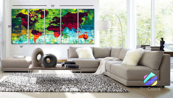 "XLARGE 30""x70"" 5Panels Art Canvas Print down Wonders of the world Oil paint texture Map Wall decor Home interior (framed 1.5"" depth) - BoxColors"