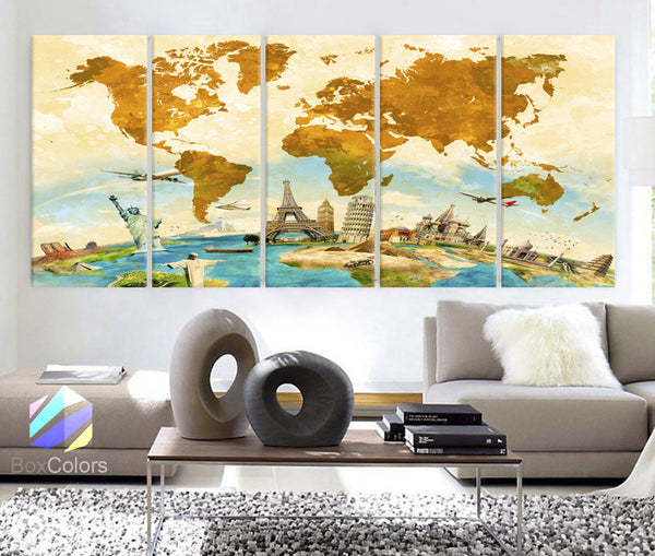 "XLARGE 30""x70"" 5Panels Art Canvas Print down Wonders of the world color beige Yellow Blue Map Wall decor Home interior (framed 1.5"" depth) - BoxColors"