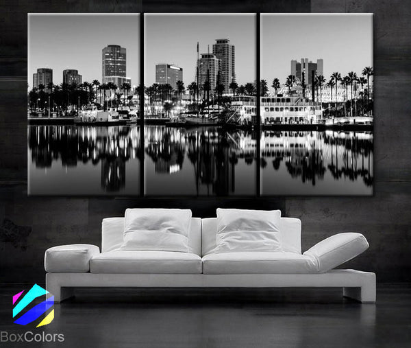 "LARGE 30""x 60"" 3 Panels Art Canvas Print Long Beach, California Black & White Skyline  Downtown Wall Home decor interior (framed 1.5"" depth) - BoxColors"