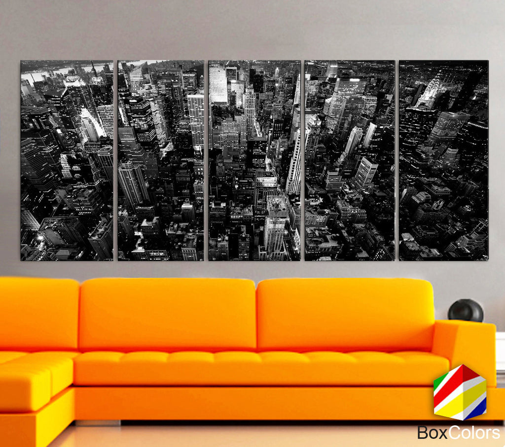 "XLARGE 30""x 70"" 5 Panels Art Canvas Print New York City Downtown Building Skyscrapers Black & White Wall Home (Included framed 1.5"" depth) - BoxColors"