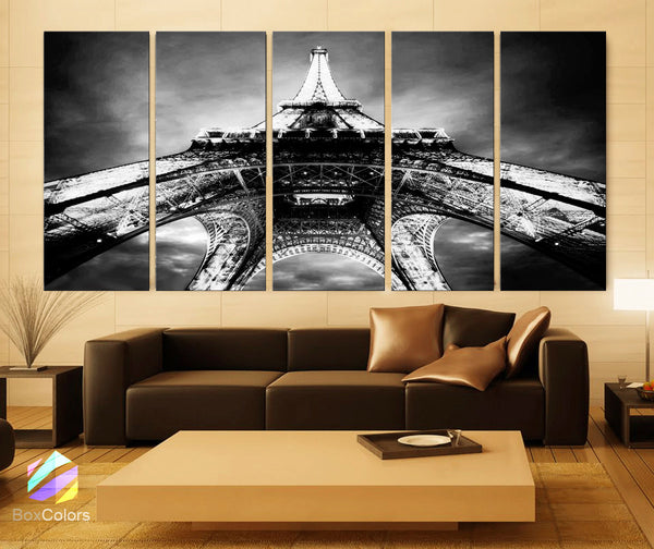 "XLARGE 30""x 70"" 5 Panels Art Canvas Print beautiful Eiffel Tower Paris Black & White Night Wall decor interior (Included framed 1.5"" depth) - BoxColors"