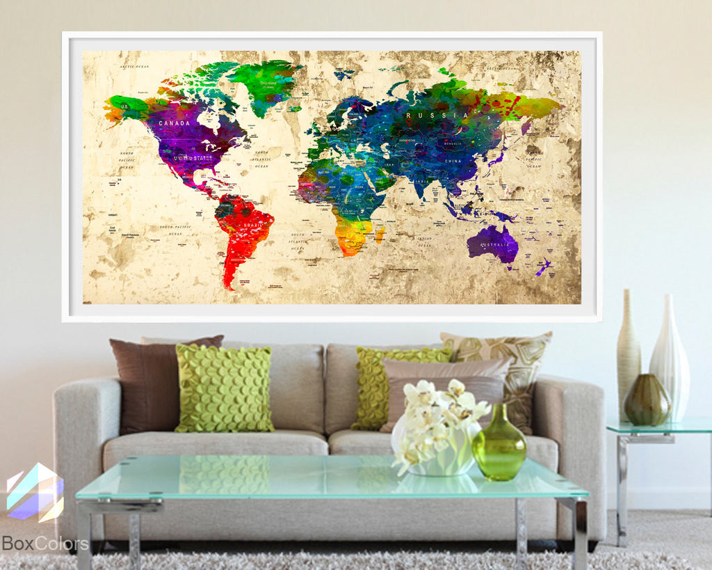 XL Poster Push Pin World Map travel Art Print Photo Paper watercolor Old Wall Decor Home  (frame is not included) (P01) FREE Shipping USA!!!