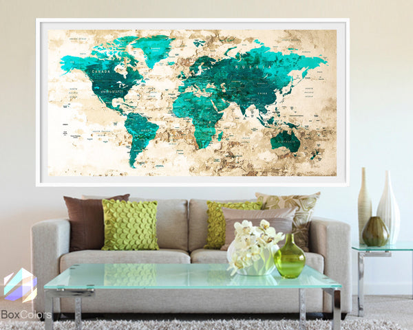 XL Poster Push Pin World Map travel Art Print Photo Paper watercolor Wall Decor Home Office (frame is not included) (P02) FREE Shipping USA!