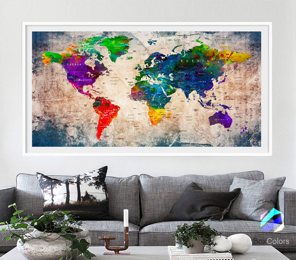 XL Poster Push Pin World Map travel Art Print Photo Paper watercolor Old Wall Decor Home (frame is not included) (P08) FREE Shipping USA!!!
