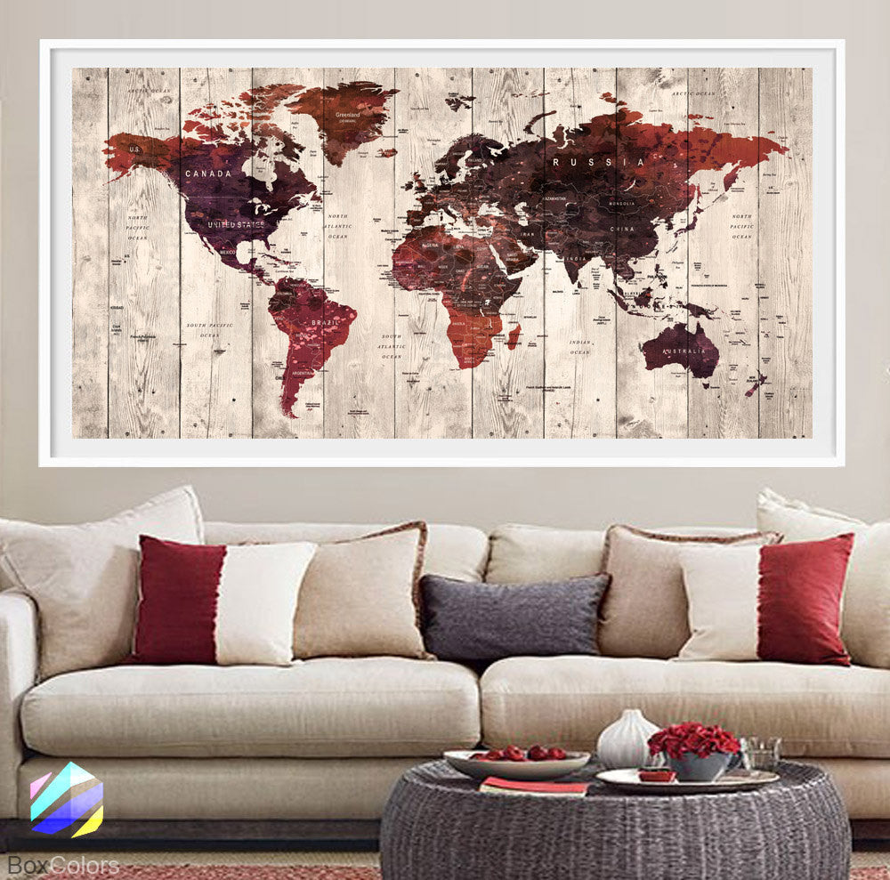 XL Poster Push Pin World Map travel art Print Photo Paper watercolor wood Wall Decor Home (frame is not included) (P21) FREE Shipping USA!!!